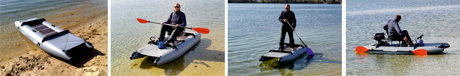 SUP mini catamarans for fishing, hunting, rafting